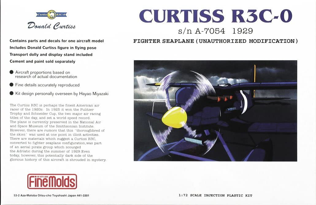 1/72 Porco Rosso: Curtiss R3C-0 Fighter Seaplane (Unauthorized Modification)