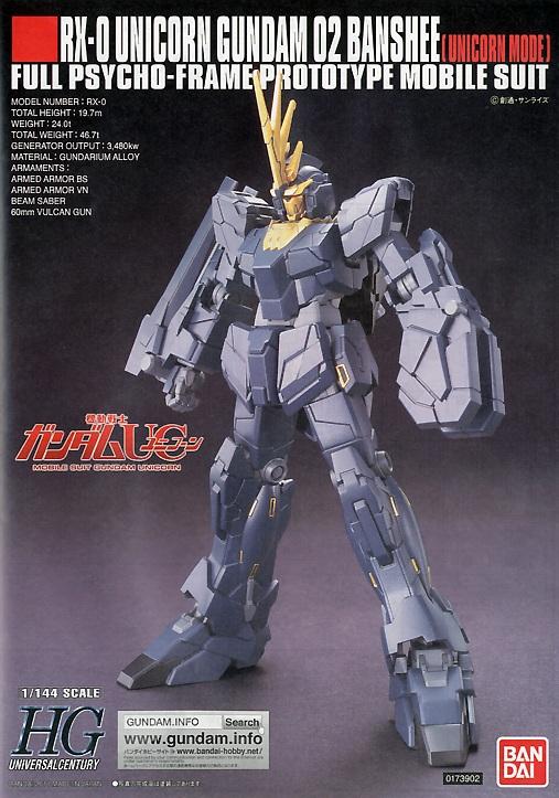 1/144 HGUC RX-0 Unicorn Mode Gundam 02 Banshee
