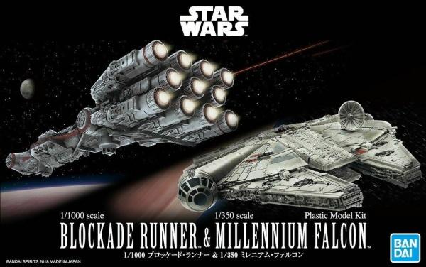 1/100 Blockade Runner and 1/350 Millenium Falcon